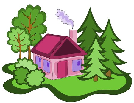 illustration of pink house in the woods Stock Vector - 7404231