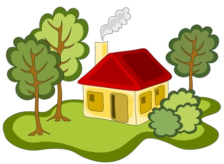 country house style: illustration of yellow red roofed country house in the forest