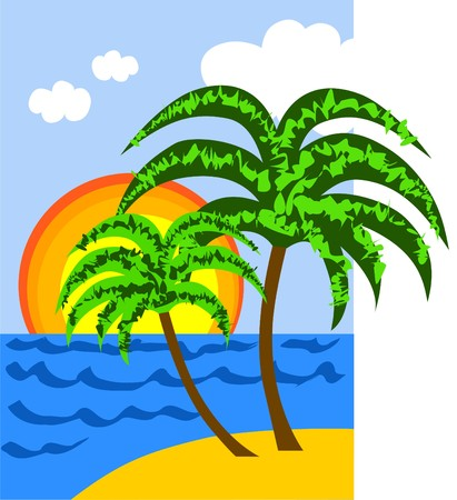illustration of two palms on a sunny tropical beach Vector