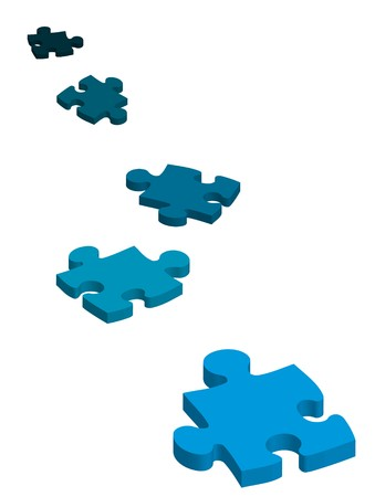 interlocking: graphic of five jigsaw puzzle pieces Illustration