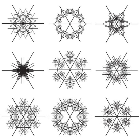 A collage of a various black snowflake shapes on a white background in a vectored illustration. Vector