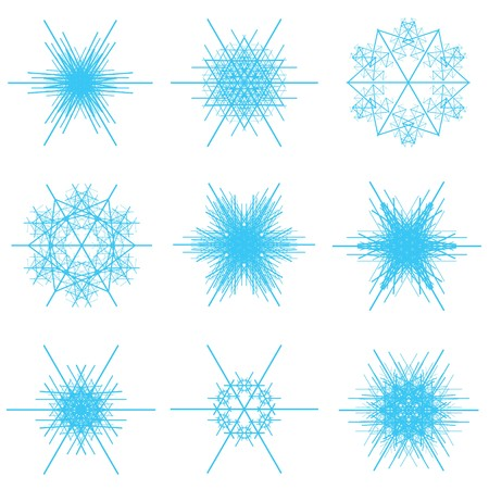A collage of a various light blue or cyan snowflake shapes on a white background in a vectored illustration. Vector
