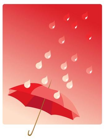 raining background: Illustration of umbrella and raindrops in red Illustration