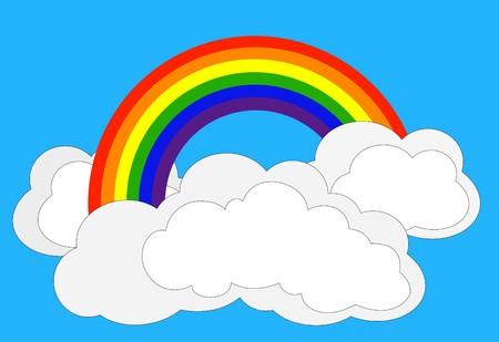 cartoons designs: Disegno semplice di arcobaleno in nuvole