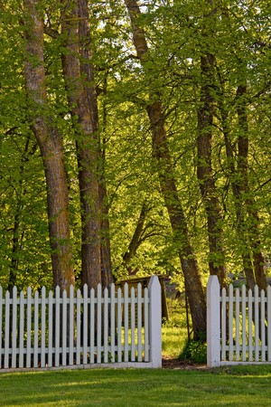 A white picket fence with an open gate to the park photo