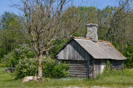 remoteness: Old wooden sauna building in countryside Stock Photo