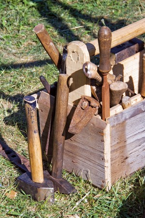 An old tool box containing carpenter's tools Stock Photo - 7436142