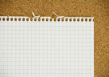 Teared notepad sheet with ragged irregular edges on cork background photo