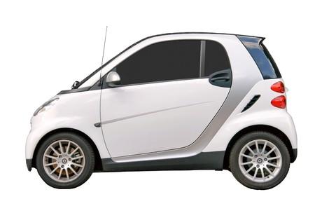 smart: Kleine stadsauto geïsoleerd op wit  Stockfoto