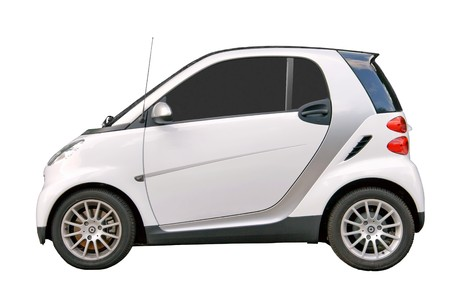Small city car isolated on white