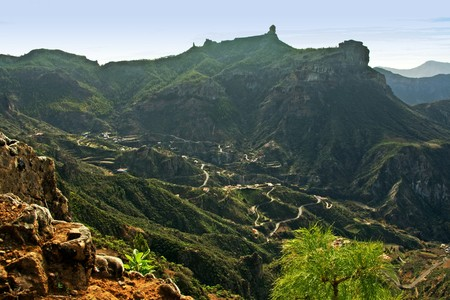 canaria: View of Roque Nublo, located in the mountains of the island of Gran Canaria in the Canary Islands Stock Photo