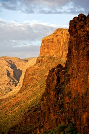mountainous: Dramatic mountainous landscape of the mountains on the island of Gran Canaria in the Canary Islands