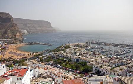An aerial view of Puerto de Mog?n, Gran Canaria, Puerto Rico photo