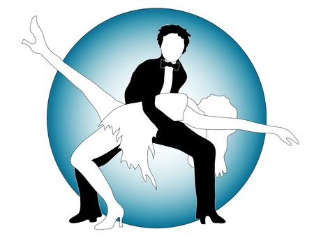 Black and white couple in a dancing pose Vector