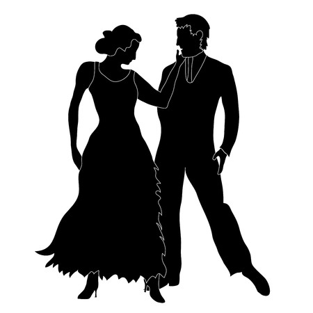 cüppe: Silhouette of two ballroom dancers, isolated on a white background Çizim