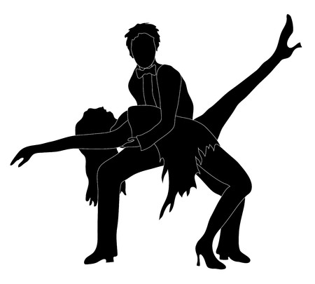 Silhouette of two dancers in a dancing pose, isolated on a white background Vector