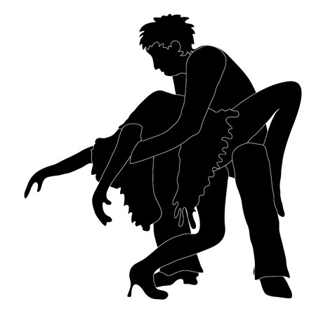 Black and white illustration of the silhouettes of a couple in a dancing pose Vector