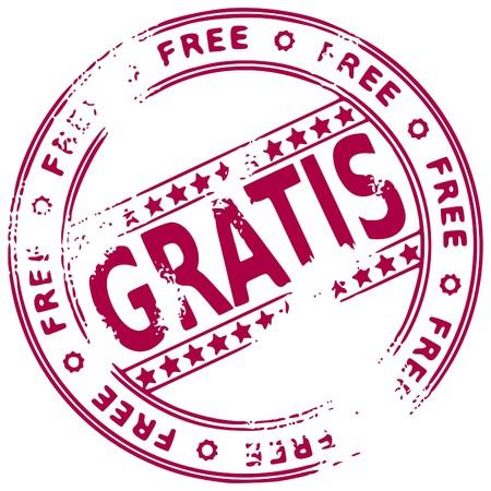 expenses: Ilustraci�n de un sello de tinta de caucho grunge gratis sobre fondo blanco, texto en espa�ol  Vectores