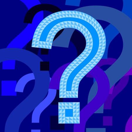questioning: Abbildung der blauen Fragezeichen