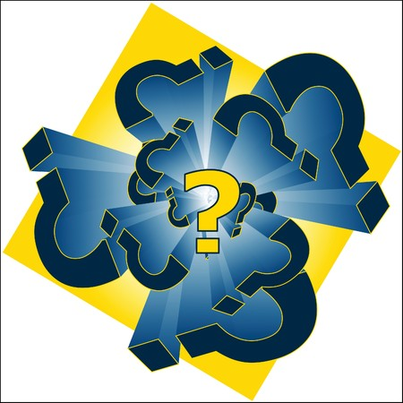 punctuation mark: Illustration of blue and yellow question marks