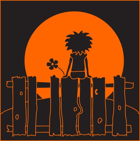 Orange and black illustration of a little girl, sitting on a fence and watching the sun as it sets Stock Vector - 7436241