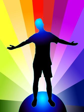 edificación: Ilustraci�n de una persona con los brazos estiradas, de pie en el mundo, sobre el arco iris de color de fondo de vectores  Vectores