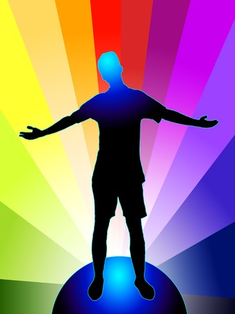 Vector illustration of a person with stretched arms, standing on globe, on rainbow colored background Vector