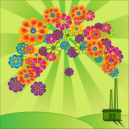 Environmentally friendly and non-polluting manufacturing concept Vector