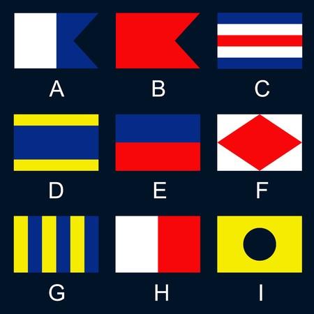 meaning: Se�ales internacionales utilizadas por los buques en el mar, se utiliza para explicar en detalle los mensajes cortos, o utilizados individualmente o en combinaci�n con un significado especial
