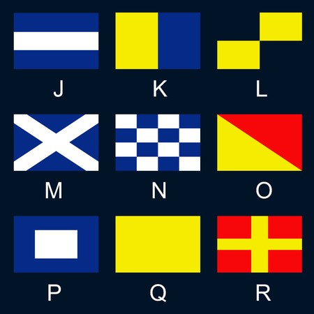 International signals used by ships at sea, used to spell out short messages, or used individually or in combination each with a special meaning Vector