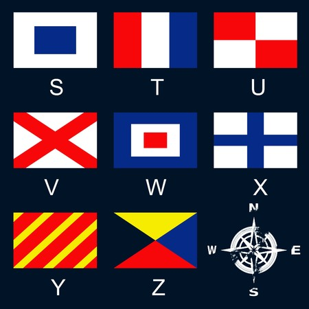 A vector illustration of international nautical signal flags and a compass rose Vector