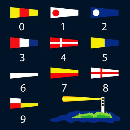 A vector illustration of international nautical signal flags and a lighthouse Vector