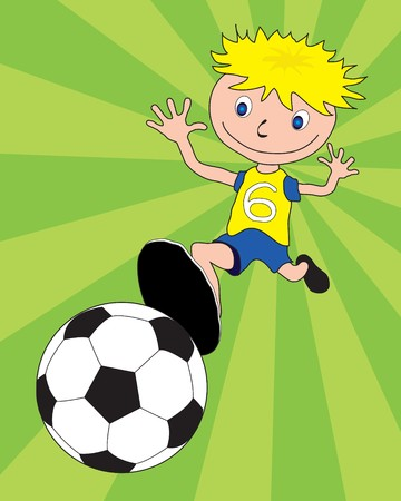 blonde boy: Illustration of blonde boy playing soccer with a green background