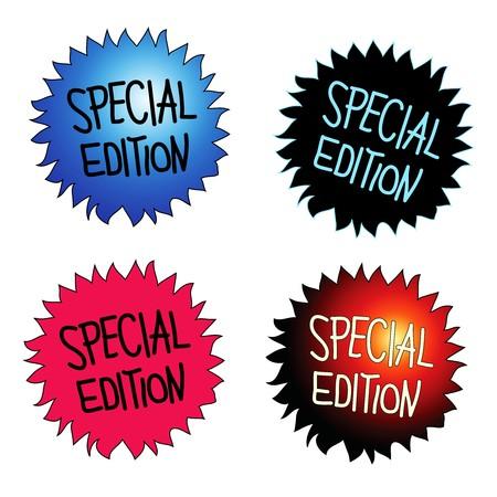 edizione straordinaria: Quattro round starburst adesivi con testo scritto a mano SPECIAL EDITION  Vettoriali