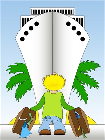 Illustration of a guy standing in front of cruise ship - going to vacation Vector