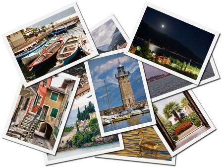 Collage of Lake Garda photographs depicting landmarks, isolated on white background