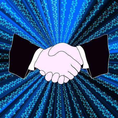 Drawing of handshake and binary digits stream photo