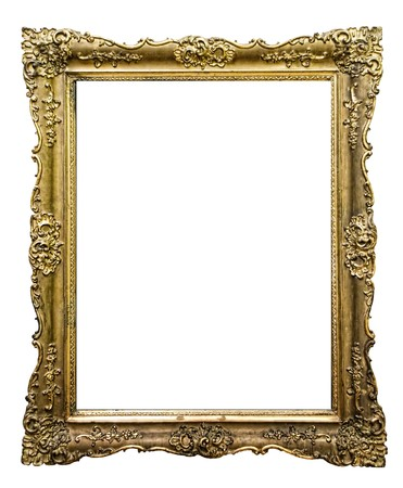 filagree: Empty golden vintage frame isolated on white background