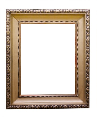 frame  box: Empty golden vintage frame isolated on white background