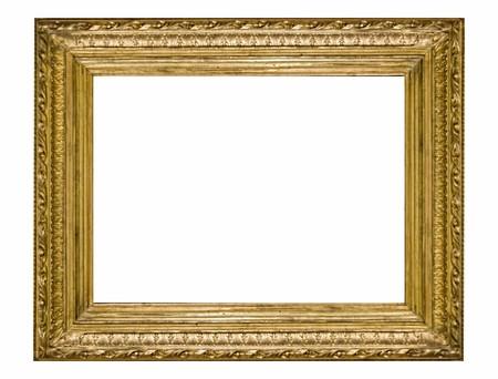 gild: Empty golden vintage frame isolated on white background