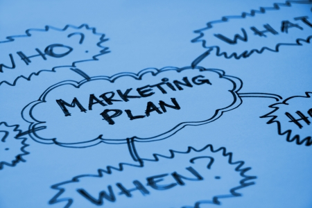 Marketing plan graph with questions Who, What, When Stock Photo