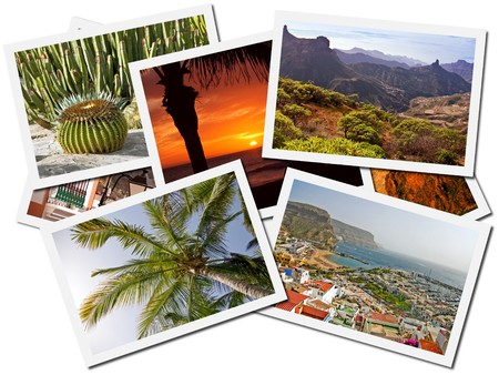 trees photography: Collage of Gran Canaria, Canary Islands postcards isolated on white background