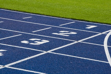 A running track in blue and white photo