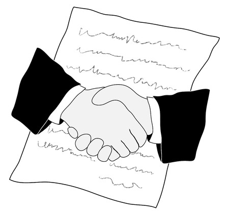 sign contract: Vetor illustration of the handshake and contract