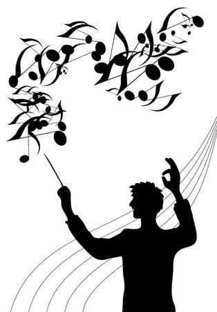 virtuoso: A silhouette illustration of the director of a choir with baton in his hand
