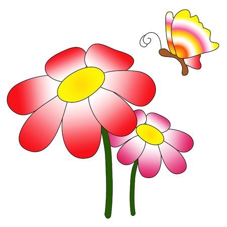 illustrierte: Illustration der roten und rosa Bl�ten mit einem Regenbogen farbige Schmetterling
