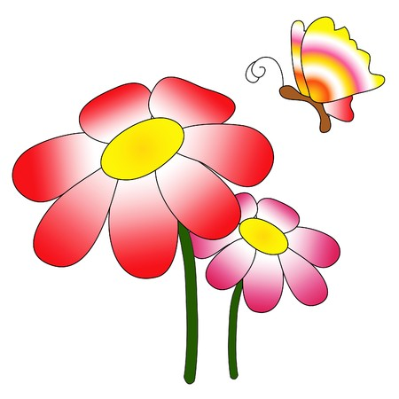 illustrated: Illustration of red and pink flowers with a rainbow colored butterfly Illustration