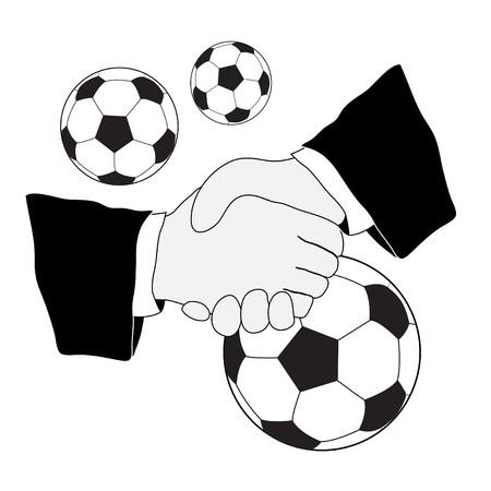 Illustration of handshake and soccer football balls Stock Vector - 7638645