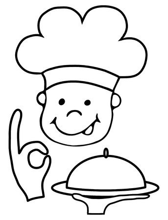 Illustration of the smiling chef with happy gesture serving tasty food Vector