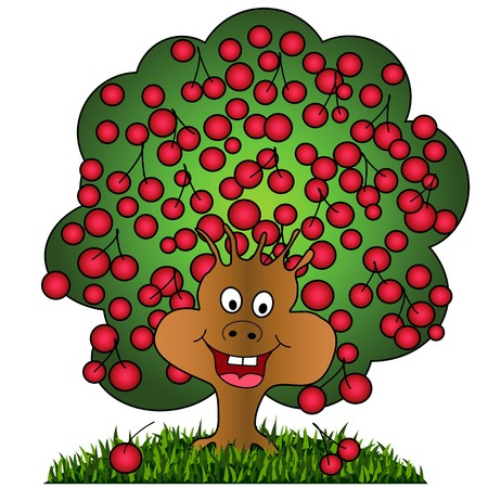 A happy cherry tree illustration on white background, smiling cartoon tree with fruits Stock Vector - 7638717
